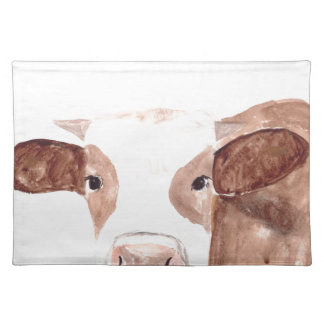 Brown cow watercolour painting placemat