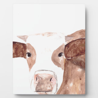 Brown cow watercolour painting plaque