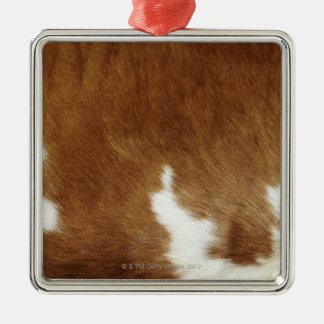 Brown Cowhide Print Silver-Colored Square Decoration