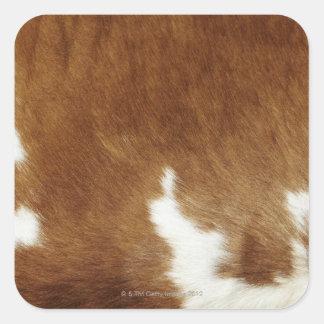 Brown Cowhide Print Square Sticker