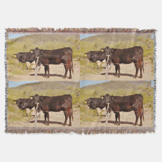 Brown Cows In Chrome Throw Blanket