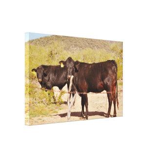 Brown Cows in Chrome Wall Art Canvas