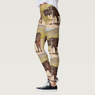 Brown Cows In Chrome Women's Leggings