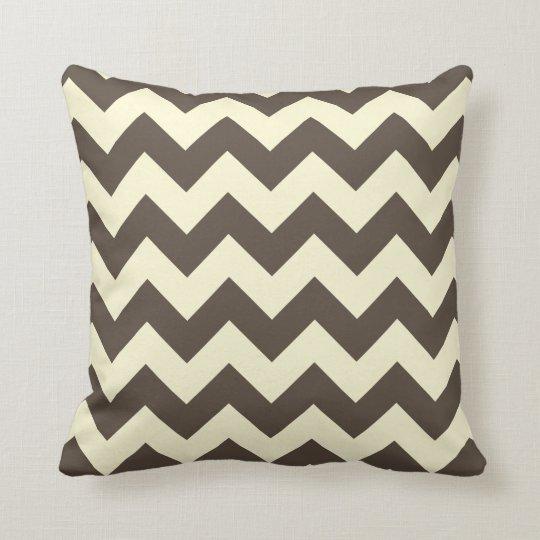 Brown & Cream Chevron Zigzag Pattern Throw Pillow