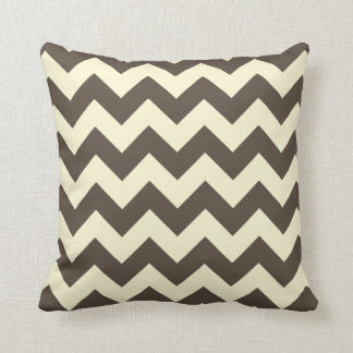 Brown & Cream Chevron Zigzag Pattern Throw Pillow