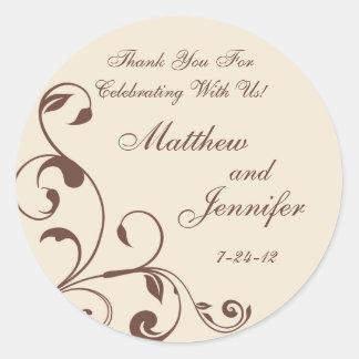Brown & Cream Floral Curls Wedding Favor Labels Round Sticker