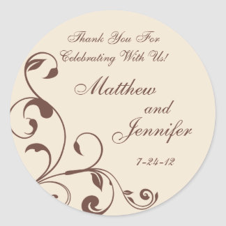 Brown Cream Floral Curls Wedding Favor Labels Round Stickers