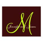 Brown Cream Green Wedding RSVP Card Monogram 11 Cm X 14 Cm Invitation Card
