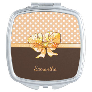 Brown, Creamy and White Dots, Faux Golden Ribbon Mirror For Makeup