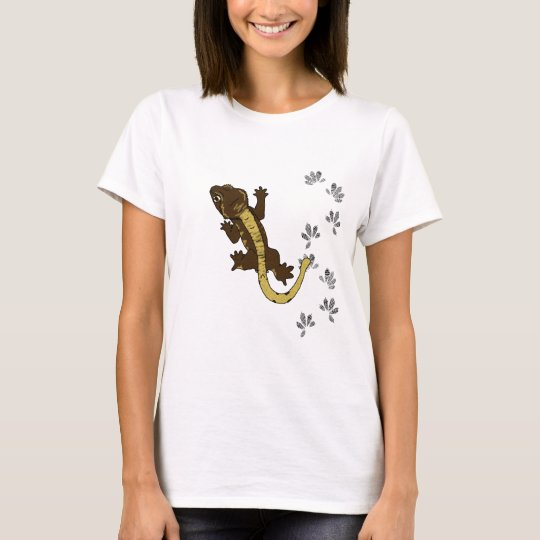 Brown Crested Gecko Shirt with footprints