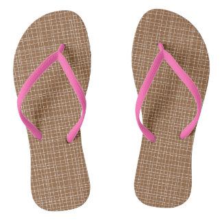 Brown Crosshatch Flip Flops