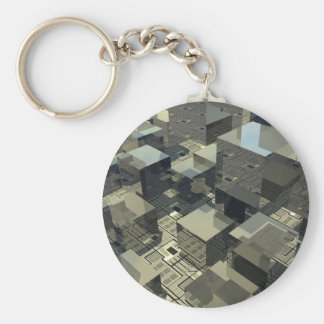 Brown Cubes On Motherboard Keychains