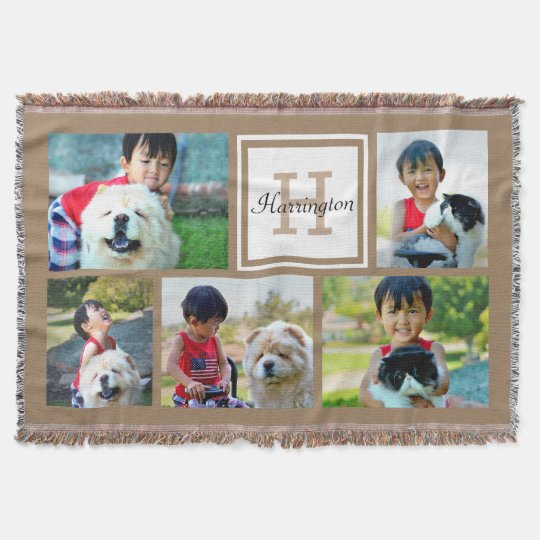 Brown Custom Monogrammed 5 Photo Picture Collage Throw
