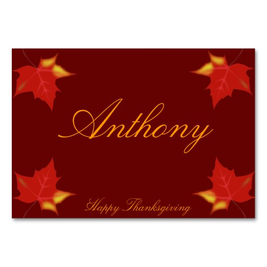 Brown Custom Thanksgiving Place Cards Fall Leaves