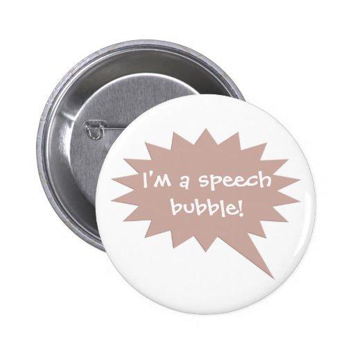 Brown Customizable Speech Bubble Balloon Button