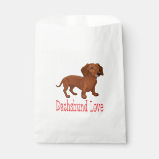 Brown Dachshund Puppy Dog Cartoon Red Love Favour Bags