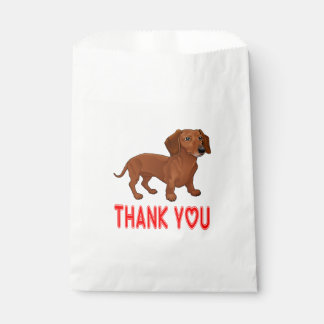 Brown Dachshund Puppy Dog Cartoon Red Thank You Favour Bags