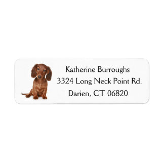 Brown Dachshund Puppy Dog Personalized Return Address Label