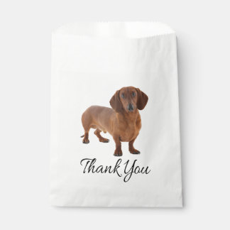 Brown Dachshund Puppy Dog Thank You Favour Bags