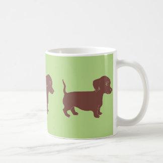 Brown Dachshunds Earthy Green Mug