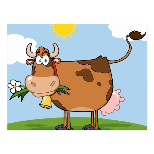 Brown Dairy Cow Postcard