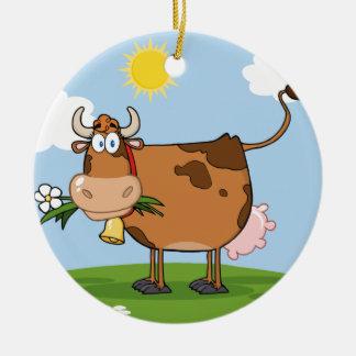 Brown Dairy Cow Round Ceramic Decoration