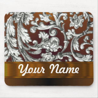 Brown damask floral pattern mouse pad