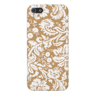 Brown Damask Pattern iPhone 5 Cases
