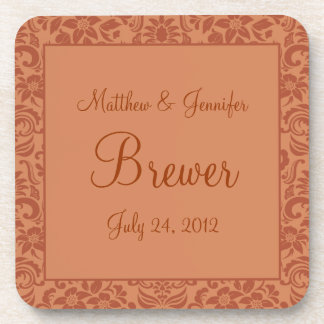 Brown Damask Personalized Wedding Gift Coaster