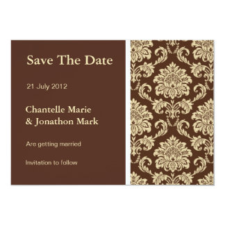 Brown Damask Save The Date Card