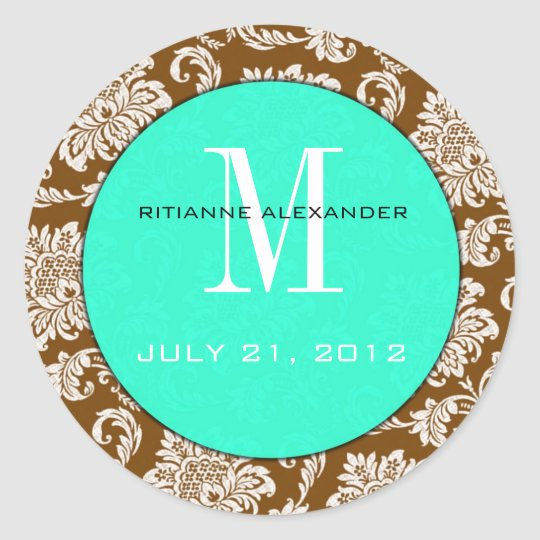 Brown Damask Teal Monogram Wedding Sticker