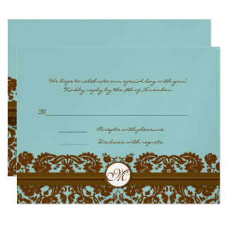 Brown Damask Wedding Monogram Response Card