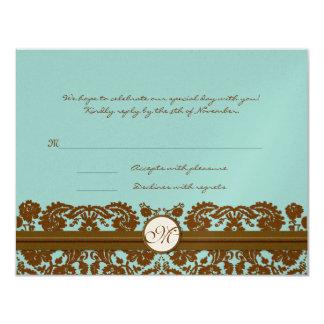 "Brown Damask Wedding Monogram Response Card 4.25"" X 5.5"" Invitation Card"