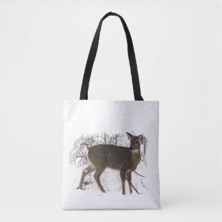 Brown Deer in Winter Snow Animal Tote Bag