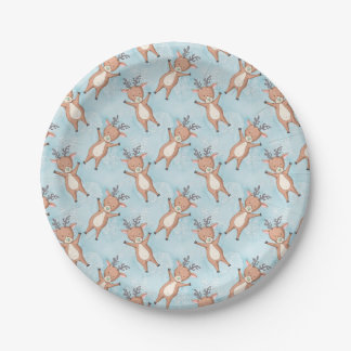 Brown Deer On A Blue Background Paper Plate