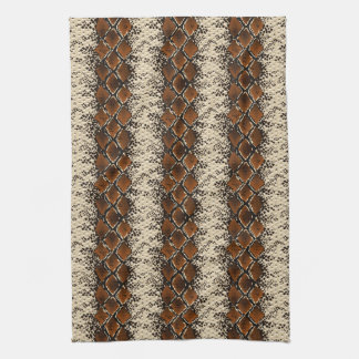 Brown Diamonds Snake Skin Pattern Tea Towel