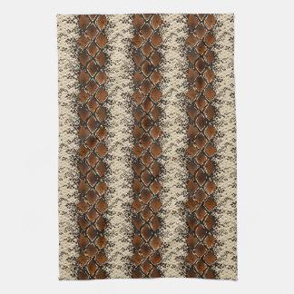Brown Diamonds Snake Skin Pattern Tea Towels