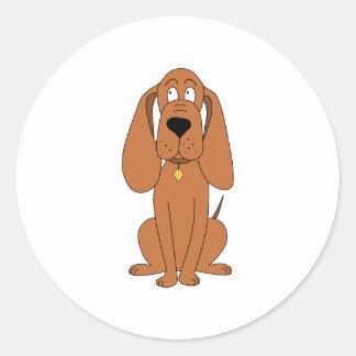 Brown Dog. Hound Cartoon with Collar. Round Stickers