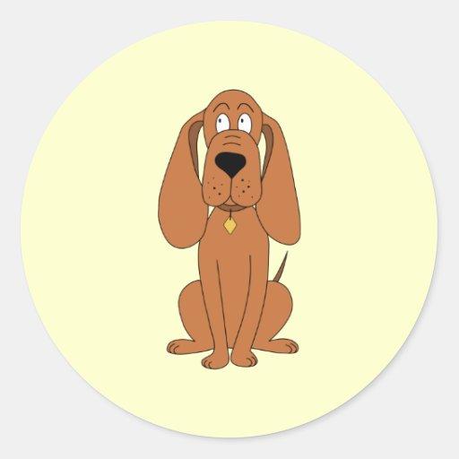 Brown Dog. Hound Cartoon with Collar. Round Sticker