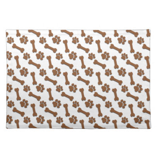 BROWN Dog Paws and Bones Custom Name and Sentimen Placemat