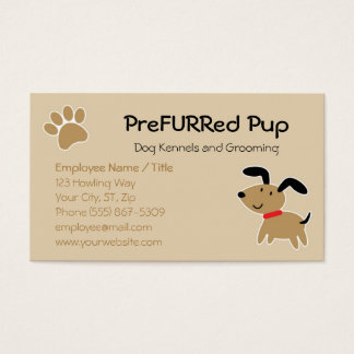 Brown Dog with Paw Print and Bone Business Card