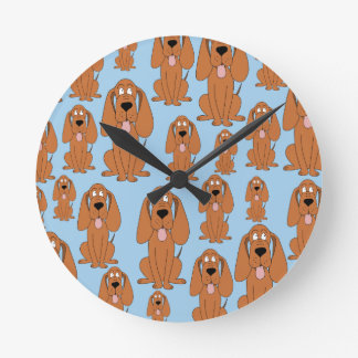 Brown Dogs on Light Blue. Clock