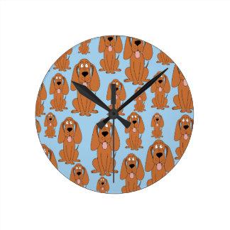 Brown Dogs on Light Blue Round Clocks