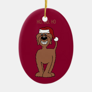 Brown Doodle Santa Ceramic Oval Decoration