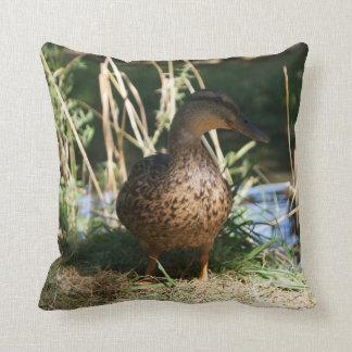 """Brown Duck, Throw Pillow 16"""" x 16"""""""