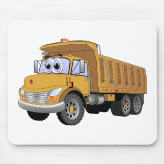 Brown Dump Truck Cartoon Mouse Pad