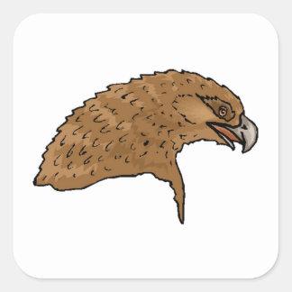Brown Eagle Head Square Sticker