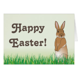 Brown Easter Bunny Greeting Card