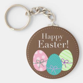 Brown Easter Eggs Happy Easter Key Ring