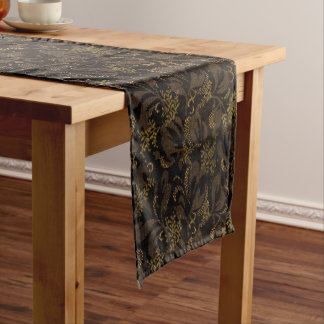 Brown Embroidery Look Short Table Runner